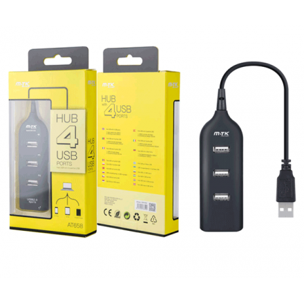 HUB 4 PUERTOS USB 2.0 NEGRO AT658 MTK