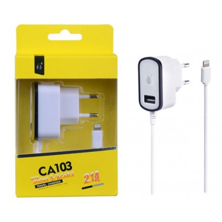 CARGADOR RED CA103 IPHONE 5/6 + TOMA USB EXTRA 2.1A NEGRO...