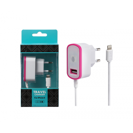 CARGADOR RED CA103 IPHONE 5/6 + TOMA USB EXTRA 2.1A ROSA...