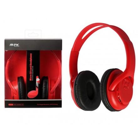 AURICULARES BLUETOOTH UV MP3 MICROSD/FM ROJO MTK