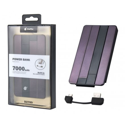 POWER BANK D2789 ONE+ 7000MAH NEGRO CABLE MICROUSB INSERTADO