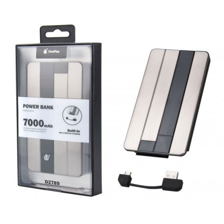 POWER BANK D2789 ONE+ 7000MAH GRIS CABLE MICROUSB INSERTADO