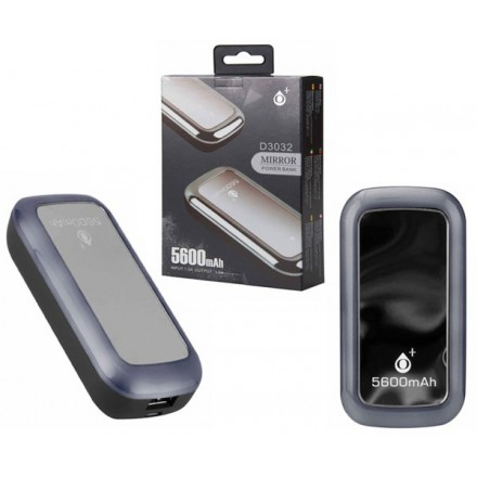 POWER BANK MIRROR D3032 5600MAH 1.5A PLATA ONE+