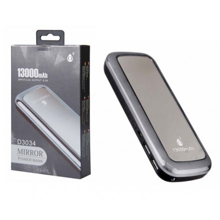 POWER BANK MIRROR D3034 13000MAH 2XUSB / 2A / LINTERNA /...