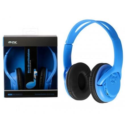 AURICULARES BLUETOOTH UV MP3 MICROSD/FM AZUL MTK