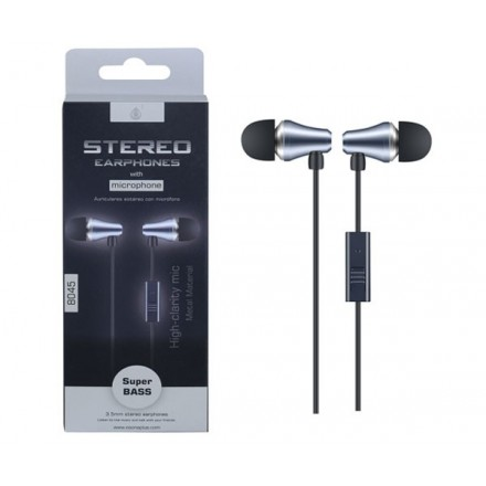 AURICULARES CON MICROFONO TIC METAL 8045 GRIS ONE+