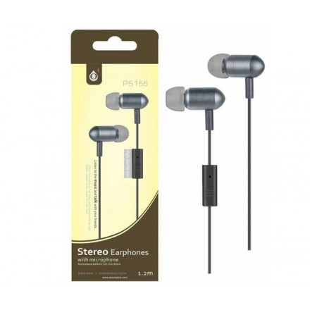 AURICULARES CON MICROFONO METAL JET P5155 GRIS ONE+