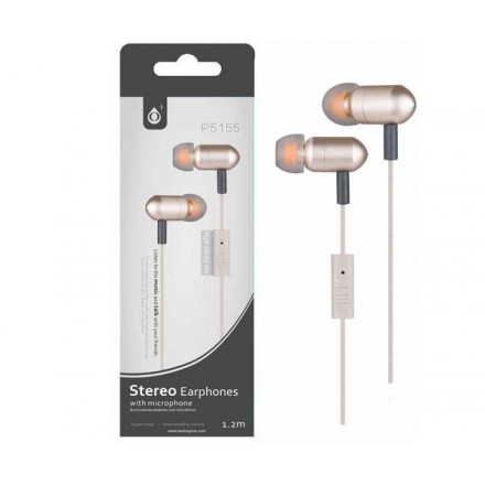 AURICULARES CON MICROFONO METAL JET P5155 ORO ONE+