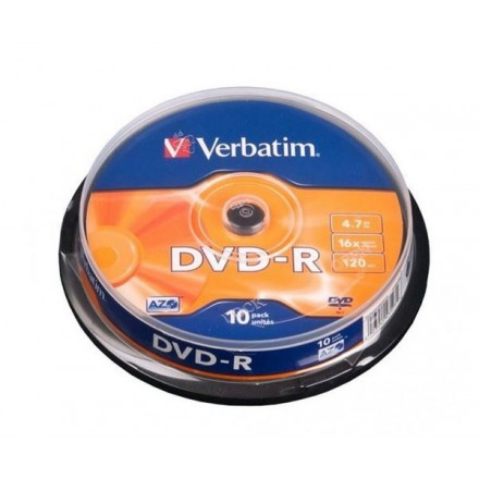 DVD-R VERBATIM 16X TARRINA 10 UDS CANON LPI INCLUIDO
