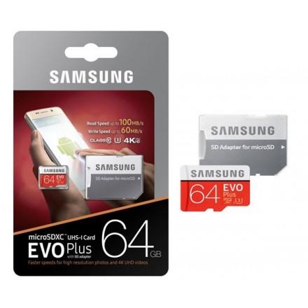 MICRO SD XC UHS-I3 SAMSUNG 64GB 100MB/S CLASE 10 EVO PLUS...