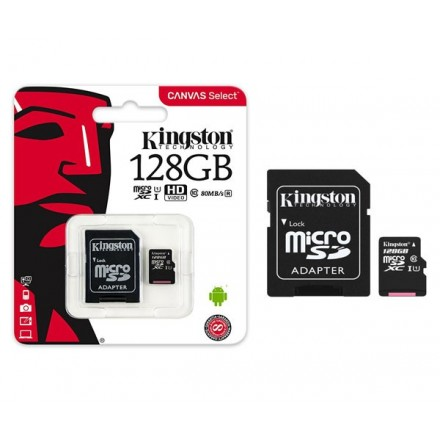 MICRO SD HC KINGSTON UHS-I 128GB CANVAS SELECT 80MB/S...
