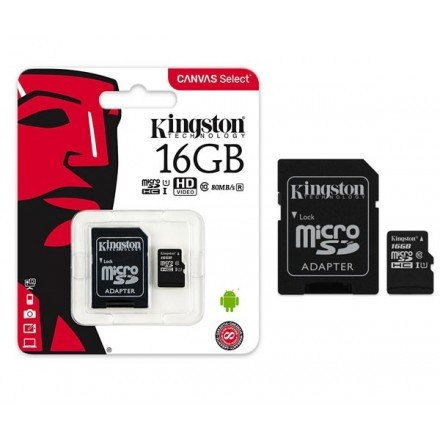 MICRO SD HC KINGSTON UHS-I 16GB CANVAS SELECT 80MB/S...