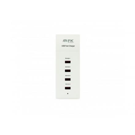 CARGADOR RAPIDO 4 PUERTOS USB HASTA 4.5A ALIMENTADO BLANCO