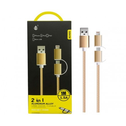 CABLE 2 EN 1 USB A MICROUSB + IPHONE 5/6/7 1M  AU405 ORO