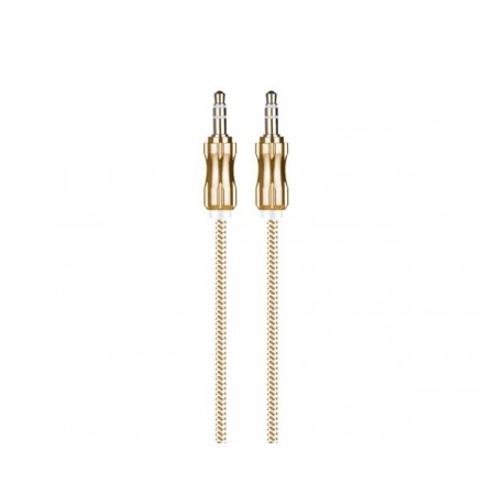CABLE JACK AU108 METALICO 3.5MM M/M NYLON 1M ORO