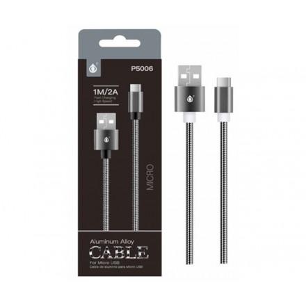 CABLE DATOS MICRO USB ALUMINIO P5006 1M / 2A / NEGRO / ONE+