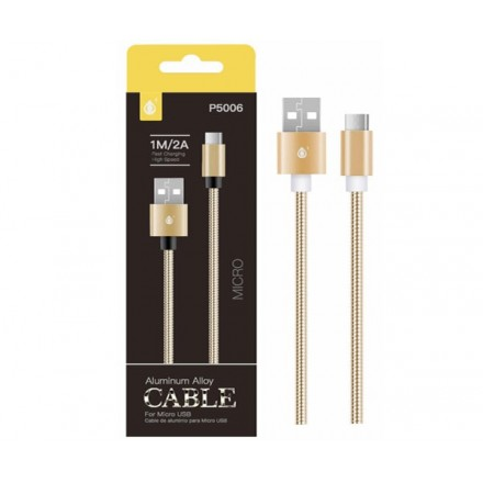 CABLE DATOS MICRO USB ALUMINIO P5006 1M / 2A / ORO / ONE+