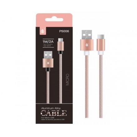 CABLE DATOS MICRO USB ALUMINIO P5006 1M / 2A / ROSA ORO /...