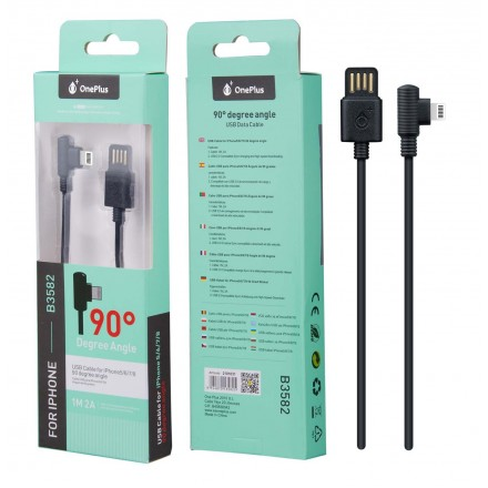 CABLE USB A IPHONE 5/6/7/8  1M ACODADO NEGRO B3582 ONE+