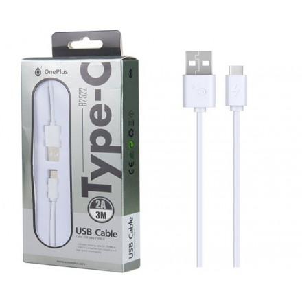 CABLE DE DATOS USB A TYPE-C  B2522 / 3 METROS / 2A /  BLANCO