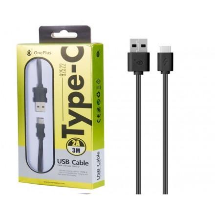 CABLE DE DATOS USB A TYPE-C  B2522 / 3 METROS / 2A /  NEGRO