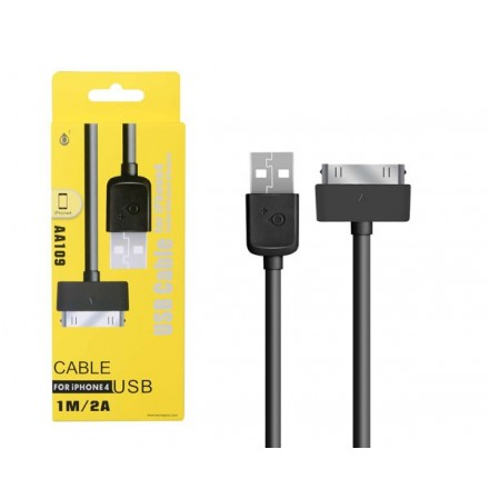 CABLE DATOS IPHONE 4/4S ALTA CALIDAD 1M AA109 NEGRO ONE+