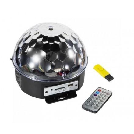 BOLA DISCOTECA LED RGB CON SD / USB / MANDO A DISTANCIA