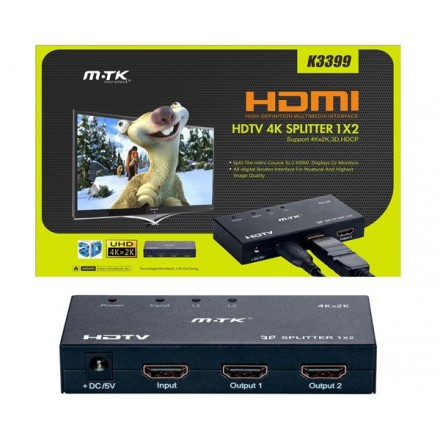 SPLITTER HDMI 4K 1X2 METALICO CON FUENTE DE ALIM. /...
