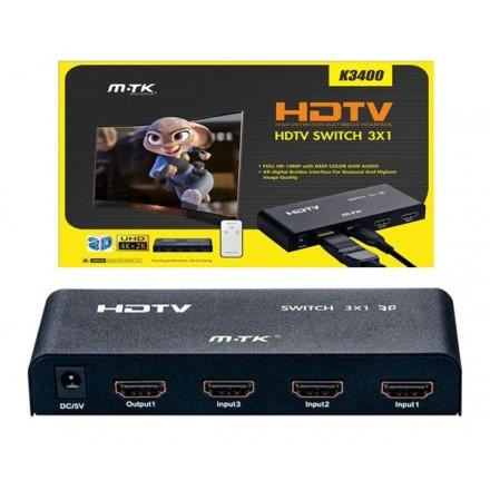 SWITCH HDMI 3 ENTRADAS 1 SALIDA CON MANDO + ALIMENTADOR...