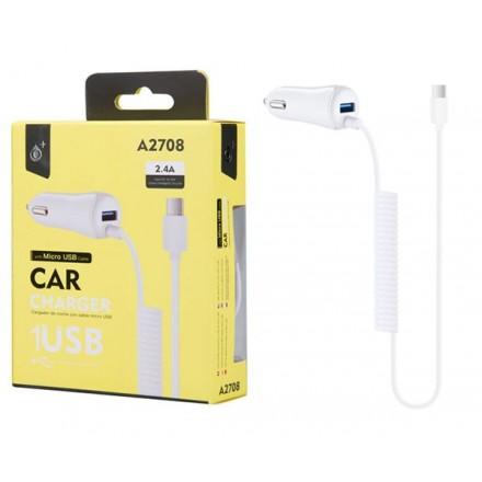CARGADOR MECHERO TOC MICROUSB + USB A2708 BLANCO ONE+